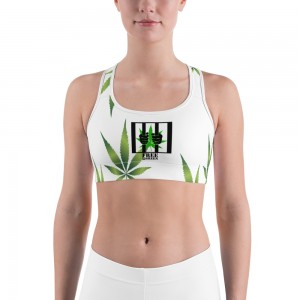 Sports bra White/Weed Plant