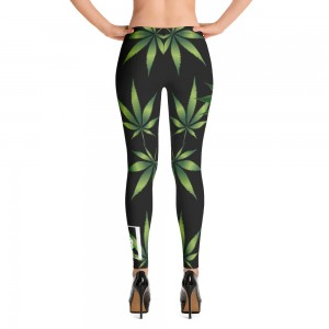 Leggings Black Weed Plant